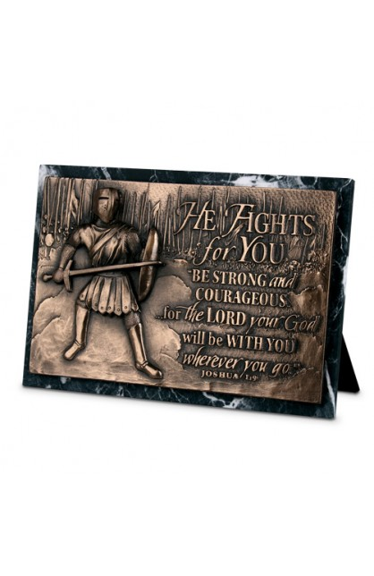 Plaque Sculpture Moments of Faith Rectangle Fights For You