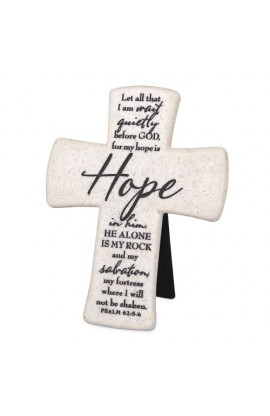 Cross Desktop Cast Stone Scripture Hope