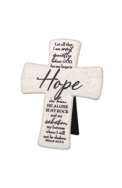 HOPE DESKTOP CROSS CAST STONE