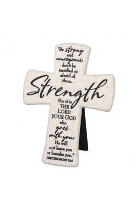 STRENGTH DESKTOP CROSS CAST STONE