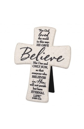 BELIEVE DESKTOP CROSS CAST STONE