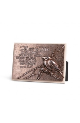 BIRD CREAM RECTANGLE PLAQUE SCULPTURE