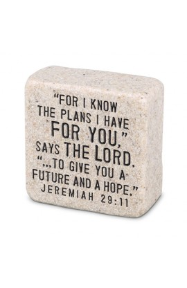 Plaque Cast Stone Scripture Stone His Plans