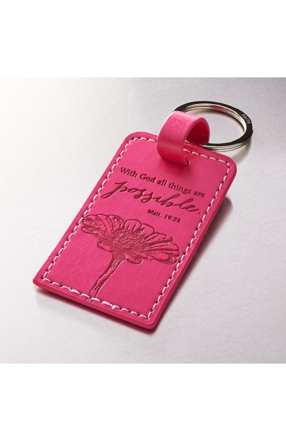 """""""All Things are Possible"""" LuxLeather Keyring Featuring Matt. 19:26"""