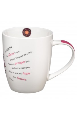 """I Know The Plans"" Ceramic Mug with Pink Flower - Jer. 29:11"