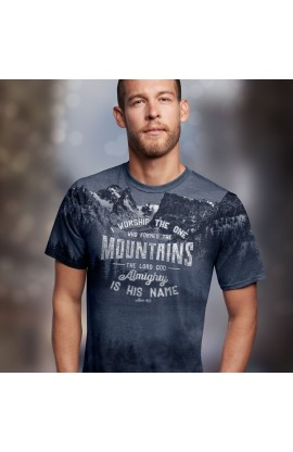 WHO MADE THE MOUNTAINS ADULT ALL-OVER PRINT T