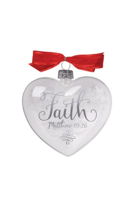 Christmas Ornament Glass Clear/White Heart Reflecting God's Love Faith
