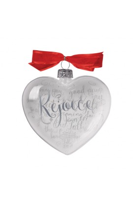 Christmas Ornament Glass Clear/White Heart Reflecting God's Love Rejoice