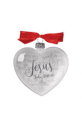 Christmas Ornament Glass Clear/White Heart Reflecting God's Love Jesus