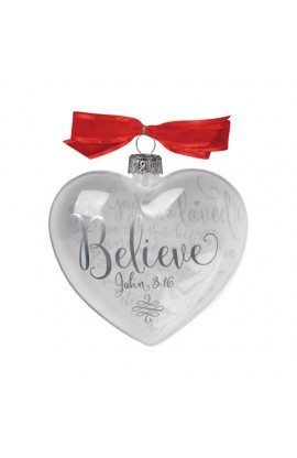 Christmas Ornament Glass Clear/White Heart Reflecting God's Love Believe