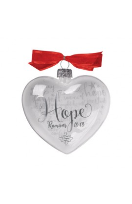 Christmas Ornament Glass Clear/White Heart Reflecting God's Love Hope