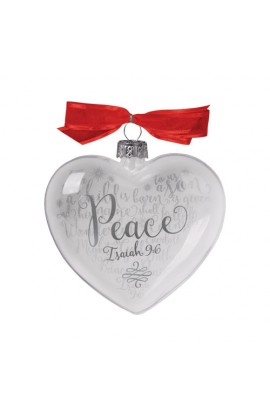 Christmas Ornament Glass Clear/White Heart Reflecting God's Love Peace