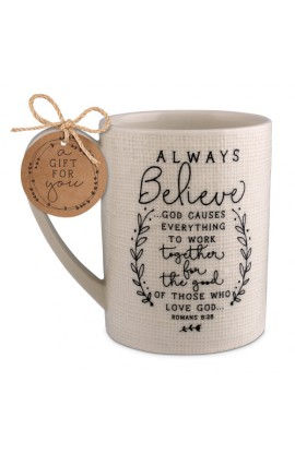 Ceramic Mug Hand Drawn Doodles Always Believe