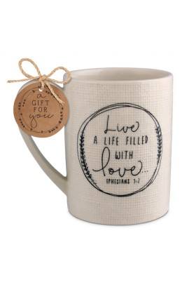 Ceramic Mug Hand Drawn Doodles Love