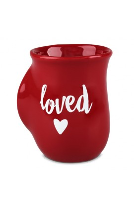 Ceramic Mug Handwarmer Loved Red