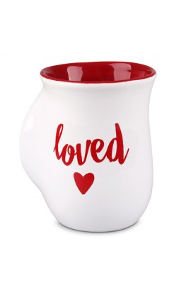 Ceramic Mug Handwarmer Loved White