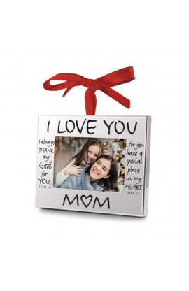 Christmas Ornament Frame Silver I Love You Mom