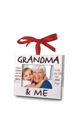 Christmas Ornament Frame Silver Grandma & Me