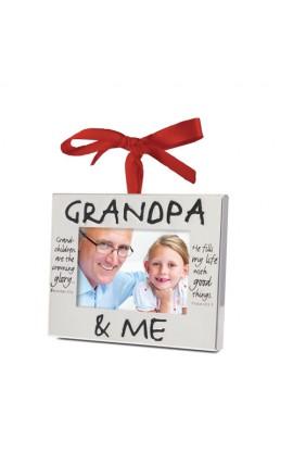 Christmas Ornament Frame Silver Grandpa & Me