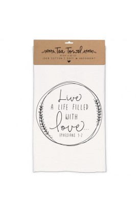 Towel Tea Cotton Hand Drawn Doodles Love