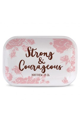 Tray Ceramic Rectangle Pretty Prints Strong & Courageous
