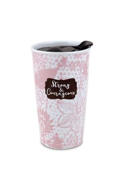 Tumbler Mug Ceramic Pretty Prints Strong & Courageous