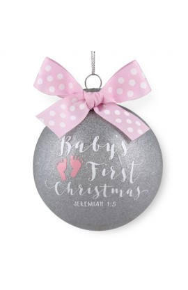 Christmas Ornament Glass Special Moments Baby's First Christmas Pink