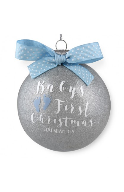 Christmas Ornament Glass Special Moments Baby's First Christmas Blue