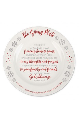 Christmas Plate Ceramic Snowflake Giving