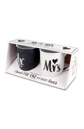 Ceramic Mugs Two Pack Handwritten Mr. & Mrs.