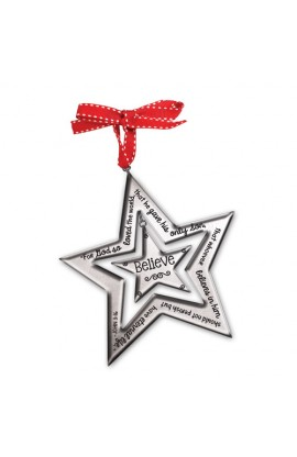 Christmas Ornament Resin Silver Star Believe