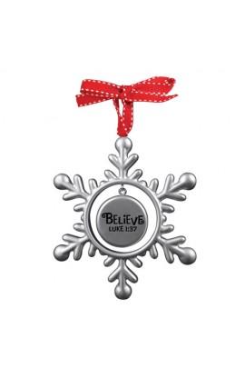 Christmas Ornament Resin Silver Snowflake Believe