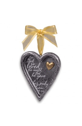 Christmas Ornament Resin Heart w/Gold Heart Everlasting Love