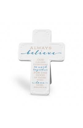 Cross Ceramic Scripture Blessings Always Believe