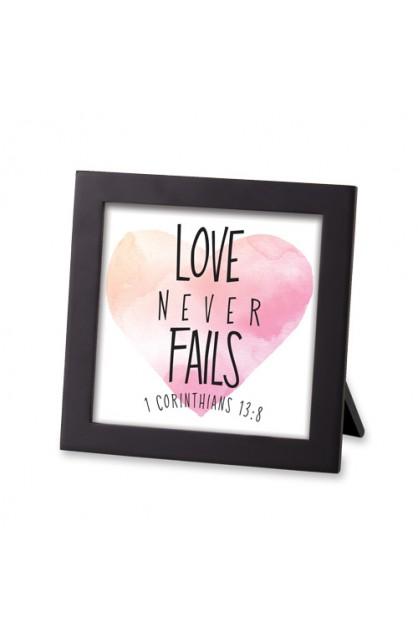 Framed Art MDF Watercolor Script Love Never Fails