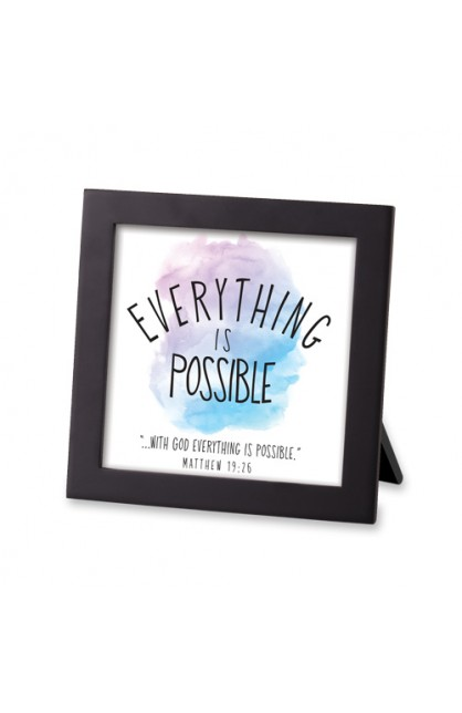 Framed Art MDF Watercolor Script Everything is Possible