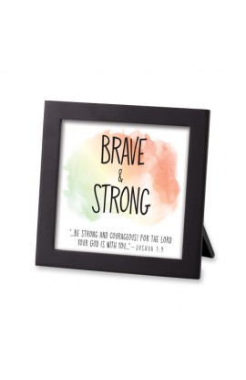 Framed Art MDF Watercolor Script Brave & Strong