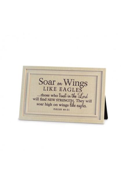 Plaque Cast Stone Linen Textured Soar on Wings
