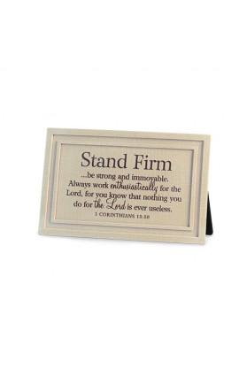 Plaque Cast Stone Linen Textured Stand Firm