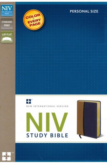 NIV STUDY BIBLE PERSONAL SIZE TAN BLUE