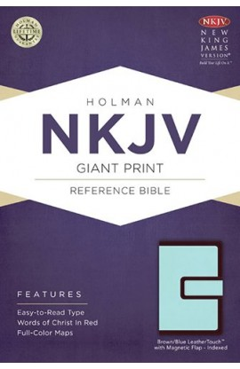 NKJV GIANT PRINT REFERENCE BIBLE BROWN BLUE WITH MAGNETIC FLAP INDEXED