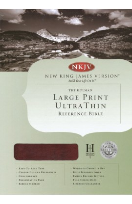 NKJV LARGE PRINT ULTRATHIN REFERENCE BIBLE MAHOGANY LEATHER