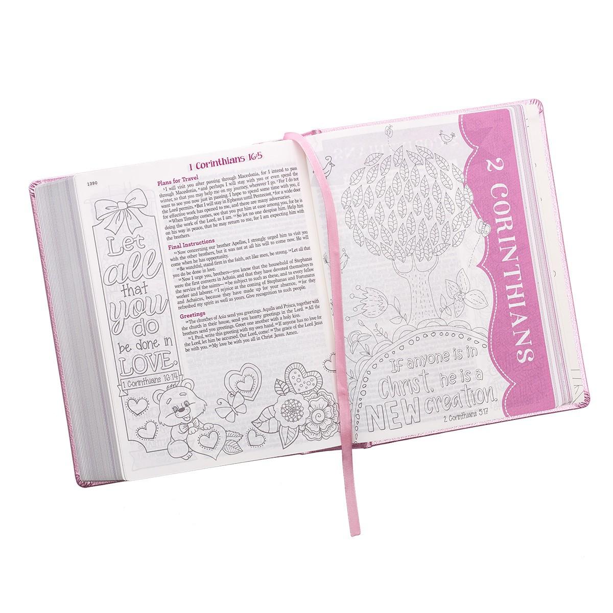 MY CREATIVE BIBLE FOR GIRLS ESV JOURNALING PINK LUXLEATHER - AYAT O