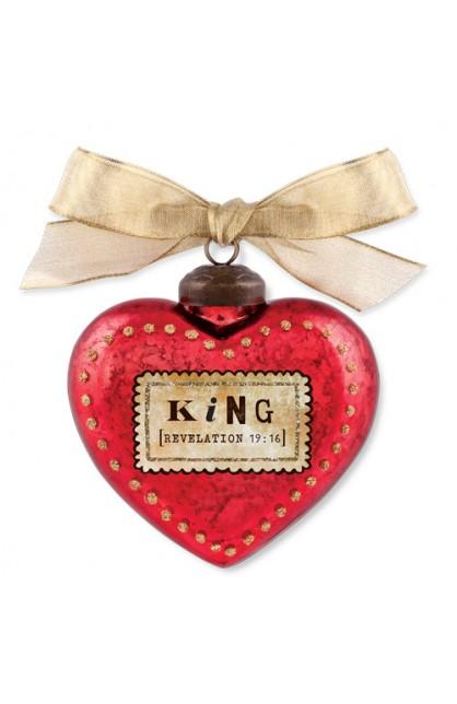 Christmas Ornament Glass Vintage Hearts King