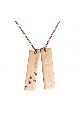 DOUBLE BAR DROP FAITH CUTOUT NECKLACE