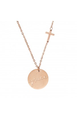 GRACE CROSS DISC NECKLACE