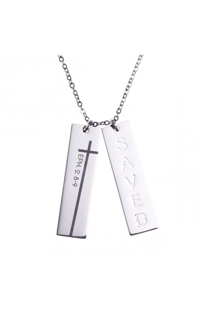 SAVED CUTOUT DOUBLE BAR NECKLACE