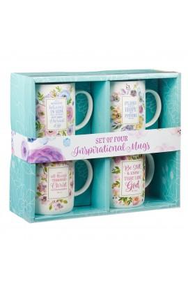 Mug Set 4pc Pastel Floral
