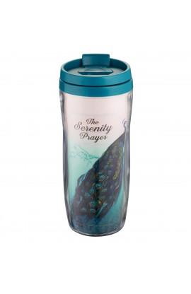Serenity Prayer Peacock Polymer Travel Mug