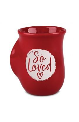 Ceramic Mug Handwarmer So Loved Red White Circle